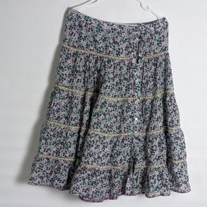 American Retro silk button front London Skirt